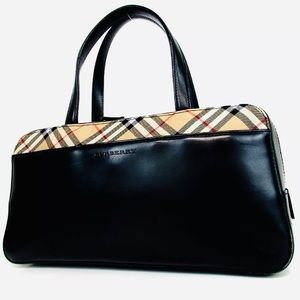 Burberry Nova Check Leather Bag Satchel Purse